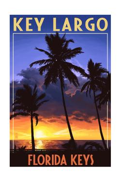 Key Largo, Florida Keys - Palms and Sunset by Lantern Press