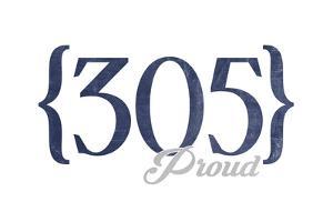 Key West, Florida - 305 Area Code (Blue) by Lantern Press