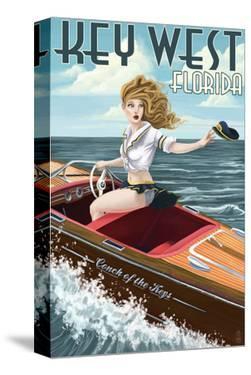 Key West, Florida - Boating Pinup Girl by Lantern Press