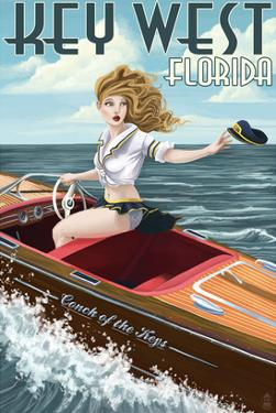 Key West, Florida - Boating Pinup Girl by Lantern Press
