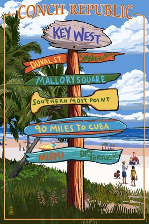 Key West, Florida - Conch Republic Destination Signs by Lantern Press
