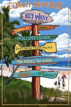 Key West, Florida - Conch Republic Destination Signs by Lantern Press