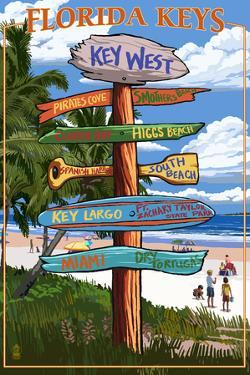 Key West, Florida - Destination Signs by Lantern Press