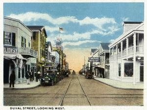 Key West, Florida - Duval Street West Scene by Lantern Press