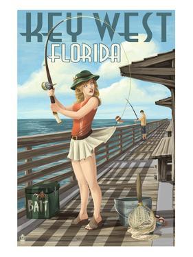 Key West, Florida - Fishing Pinup Girl by Lantern Press