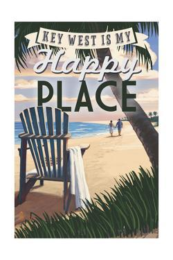 Key West, Florida is My Happy Place - Adirondack Chairs and Sunset - Florida by Lantern Press