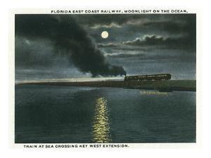 Key West, Florida - Key West Extension Train at Night by Lantern Press