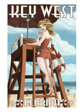 Key West, Florida - Lifeguard Pinup Girl by Lantern Press