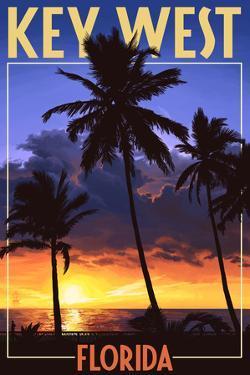 Key West, Florida - Palms and Sunset by Lantern Press