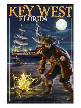 Key West, Florida - Pirate and Treasure by Lantern Press