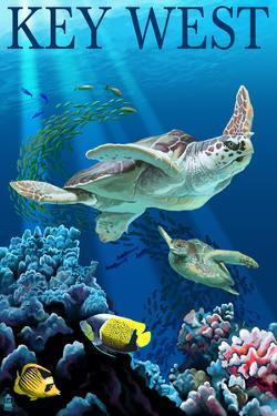Key West, Florida - Sea Turtles by Lantern Press