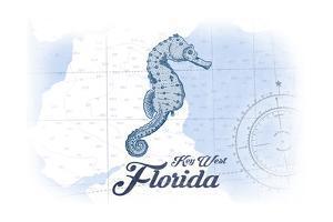 Key West, Florida - Seahorse - Blue - Coastal Icon by Lantern Press