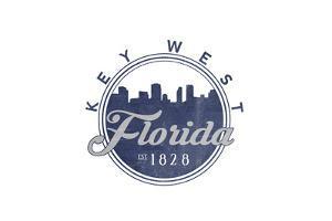 Key West, Florida - Skyline Seal (Blue) by Lantern Press