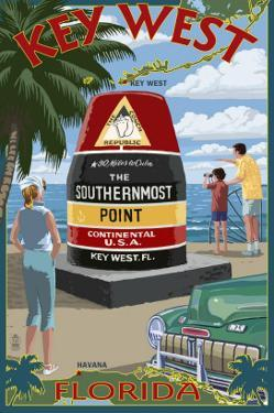 Key West, Florida - Southernmost Point by Lantern Press