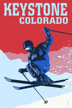 Keystone, Colorado - Colorblocked Skier by Lantern Press