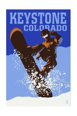 Keystone, Colorado - Colorblocked Snowboarder by Lantern Press