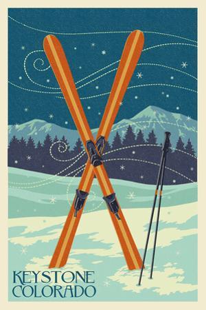 Keystone, Colorado - Crossed Skis by Lantern Press
