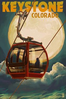 Keystone, Colorado - Gondola and Full Moon by Lantern Press