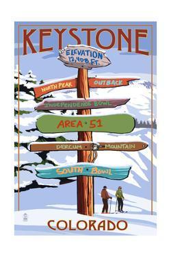 Keystone, Colorado - Ski Signpost by Lantern Press