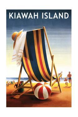 Kiawah Island, South Carolina - Beach Chair and Ball by Lantern Press