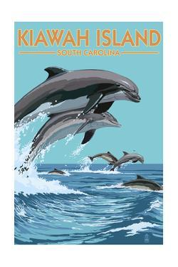 Kiawah Island, South Carolina - Dolphins Jumping by Lantern Press