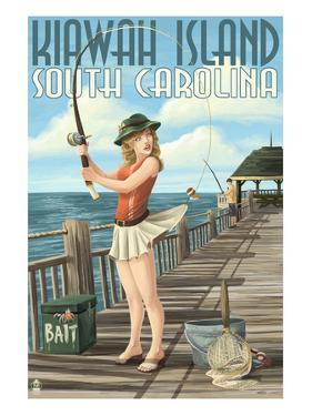 Kiawah Island, South Carolina - Pinup Girl Fishing by Lantern Press
