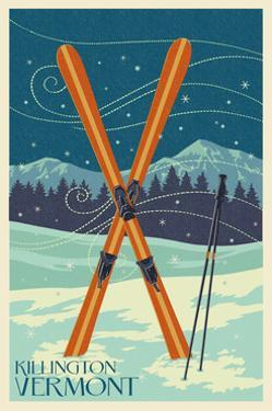Killington, Vermont - Crossed Skis - Letterpress by Lantern Press