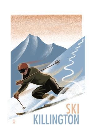Killington, Vermont - Downhill Skier - Lithography Style by Lantern Press