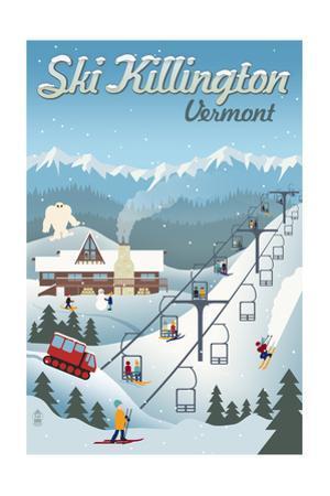 Killington, Vermont - Retro Ski Resort by Lantern Press
