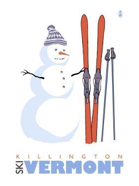 Killington, Vermont, Snowman with Skis by Lantern Press