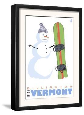 Killington, Vermont, Snowman with Snowboard by Lantern Press