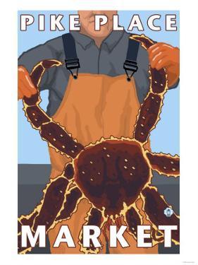 King Crab Fisherman, Pike Place Market, Seattle by Lantern Press