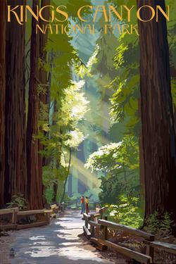 Kings Canyon National Park, California - Pathway and Hikers by Lantern Press
