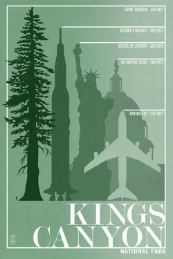 Kings Canyon National Park - Redwood Relative Sizes by Lantern Press