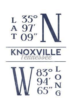 Knoxville, Tennessee - Latitude and Longitude (Blue) by Lantern Press