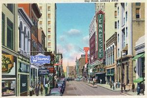 Knoxville, Tennessee - Northern View Up Gay Street by Lantern Press
