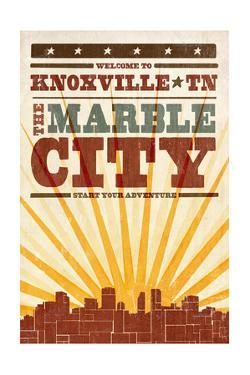 Knoxville, Tennessee - Skyline and Sunburst Screenprint Style by Lantern Press