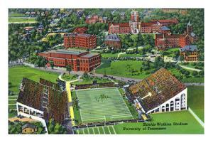 Knoxville, Tennessee - University of Tennessee, Aerial View of the Shields-Watkins Stadium by Lantern Press