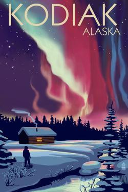 Kodiak, Alaska - Northern Lights and Cabin by Lantern Press