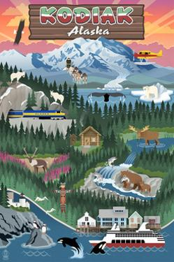 Kodiak, Alaska - Retro Scenes by Lantern Press