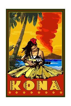 Kona, Hawaii - Hula Girl and Ukulele by Lantern Press