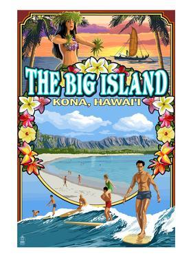 Kona, Hawaii - Montage Scene by Lantern Press