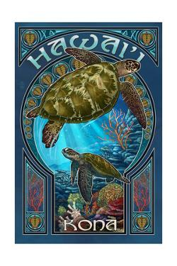 Kona, Hawaii - Sea Turtle Art Nouveau by Lantern Press