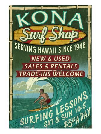 Kona, Hawaii - Surf Shop by Lantern Press