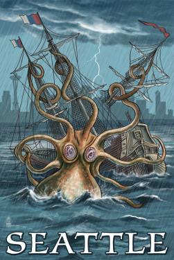 Kraken Attacking Ship - Seattle by Lantern Press