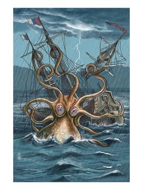 Kraken Attacking Ship by Lantern Press