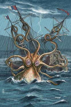 Kraken Attacking Ship by Lantern Press