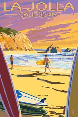La Jolla, California - Beach and Surfers by Lantern Press