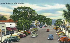 La Jolla, California - View Down Girard Avenue by Lantern Press