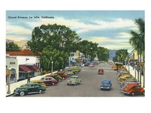 La Jolla, California - View Down Girard Avenue by Lantern Press